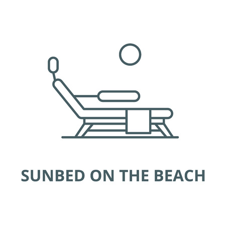 Sunbed on the beach vector line icon, outline concept, linear sign Illusztráció