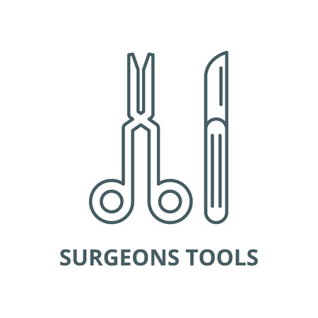 Surgeons tools vector line icon, outline concept, linear sign Ilustração