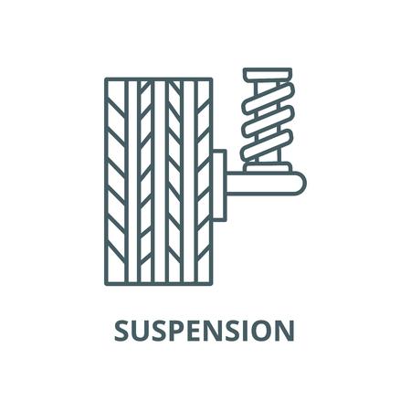 Suspension, car, auto  vector line icon, outline concept, linear sign