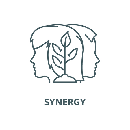 Synergy vector line icon, outline concept, linear sign Ilustracja