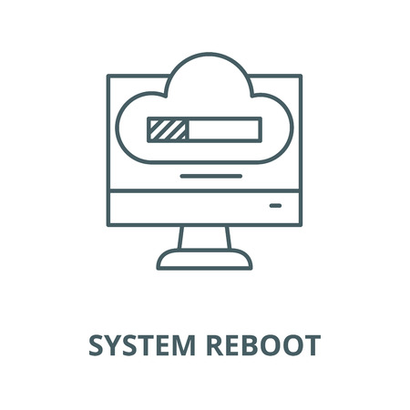 System reboot vector line icon, outline concept, linear sign 写真素材 - 122415177
