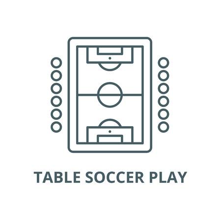 Icona della linea del vettore del gioco del calcio balilla, concetto di contorno, segno lineare