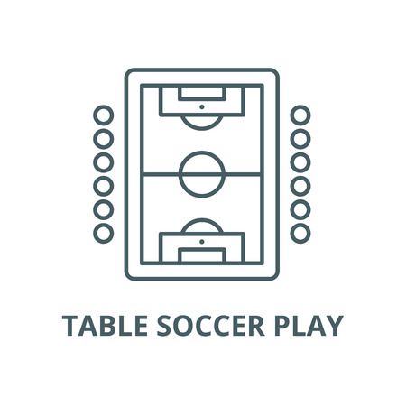 Icono de línea de vector de juego de fútbol de mesa, concepto de contorno, signo lineal
