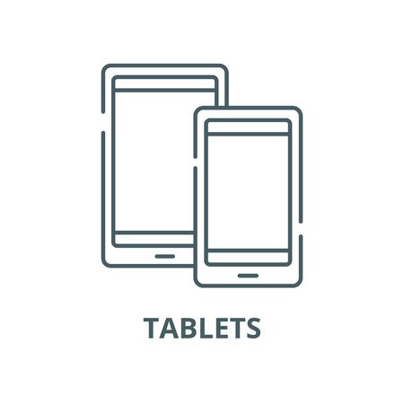 Tablets vector line icon, outline concept, linear sign Ilustração