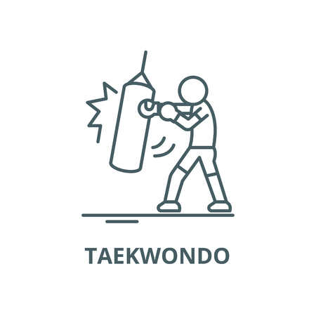 Taekwondo vector line icon, outline concept, linear sign