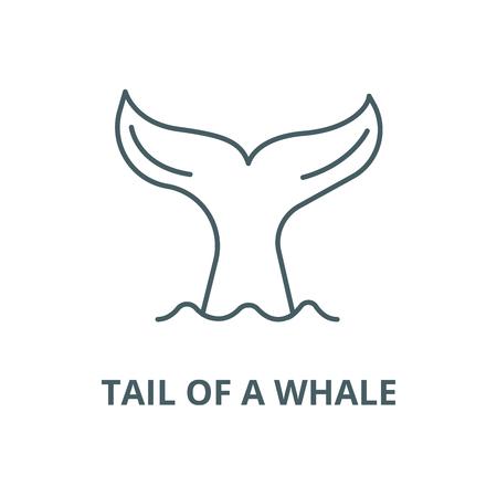 Schwanz eines Walvektorliniensymbols, Umrisskonzept, lineares Zeichen Vektorgrafik