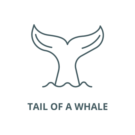 Tail of a whale vector line icon, outline concept, linear sign