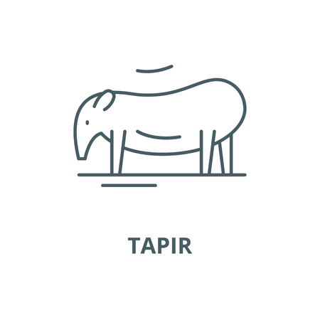 Tapir vector line icon, outline concept, linear sign