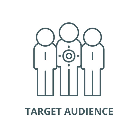 Target audience vector line icon, outline concept, linear sign
