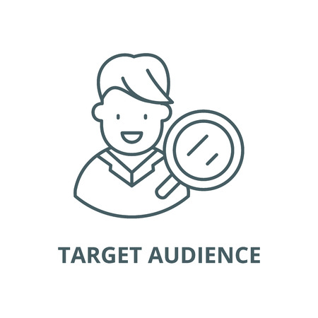 Target audience research vector line icon, outline concept, linear sign