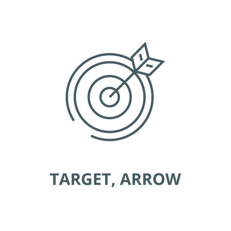 Target, arrow vector line icon, outline concept, linear sign