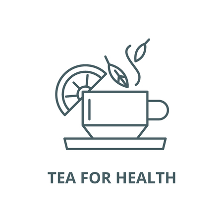 Tea for health vector line icon, outline concept, linear sign  イラスト・ベクター素材