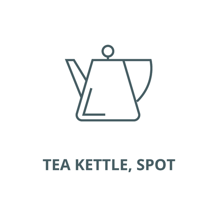 Tea kettle, spot vector line icon, outline concept, linear sign Ilustracja