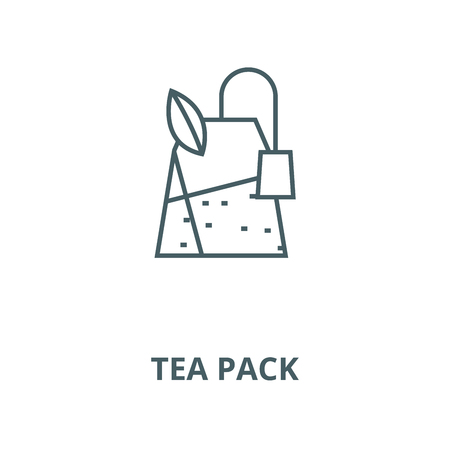 Tea pack vector line icon, outline concept, linear sign Vettoriali