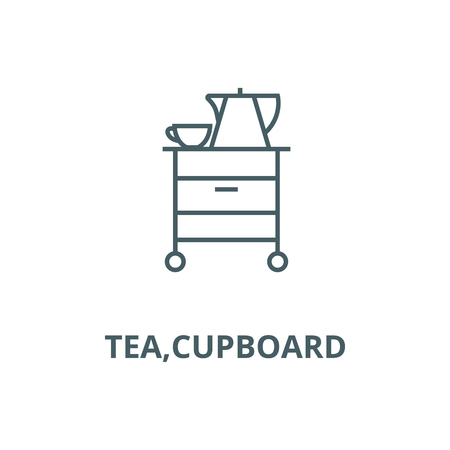 Tea,cupboard vector line icon, outline concept, linear sign Stockfoto - 122415193