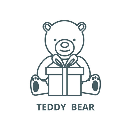 Teddy bear with gift box vector line icon, outline concept, linear sign