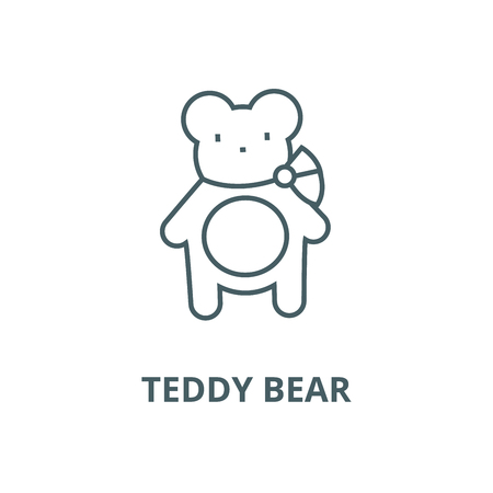Teddy bear vector line icon, outline concept, linear sign  イラスト・ベクター素材