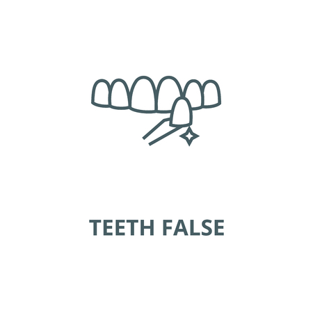 Teeth false vector line icon, outline concept, linear sign Illustration