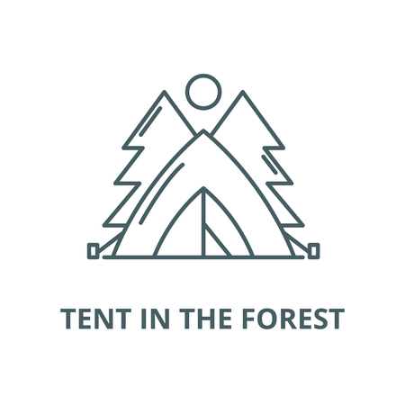 Tent in the forest vector line icon, outline concept, linear sign