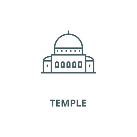 Temple,synagogue vector line icon, outline concept, linear sign