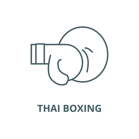 Thai boxing vector line icon, outline concept, linear sign