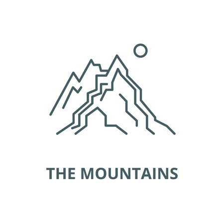 The mountains vector line icon, outline concept, linear sign Ilustração