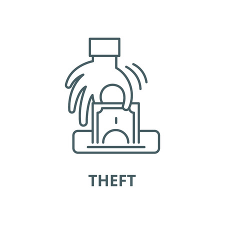 Theft vector line icon, outline concept, linear sign
