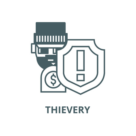 Theft,thievery, steal insurance  vector line icon, outline concept, linear sign
