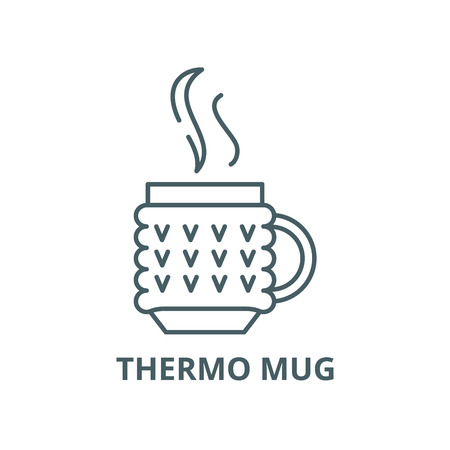 Thermo mug vector line icon, outline concept, linear sign