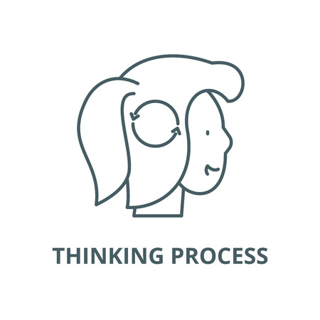 Thinking process vector line icon, outline concept, linear sign