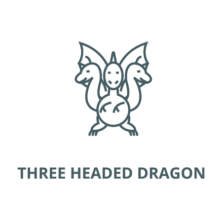 Three headed dragon  vector line icon, outline concept, linear sign Illustration