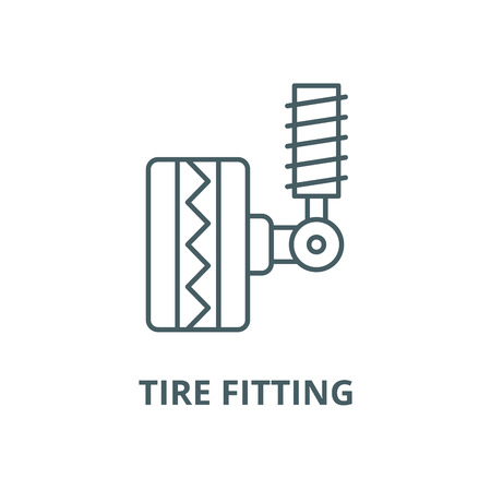 Tire fitting vector line icon, outline concept, linear sign