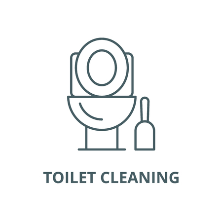 Toilet cleaning vector line icon, outline concept, linear sign Illustration