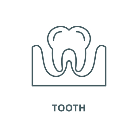 Tooth vector line icon, outline concept, linear sign Stock Vector - 122415227