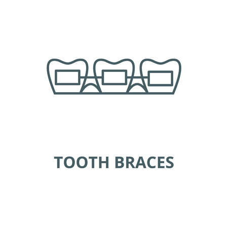 Tooth braces vector line icon, outline concept, linear sign