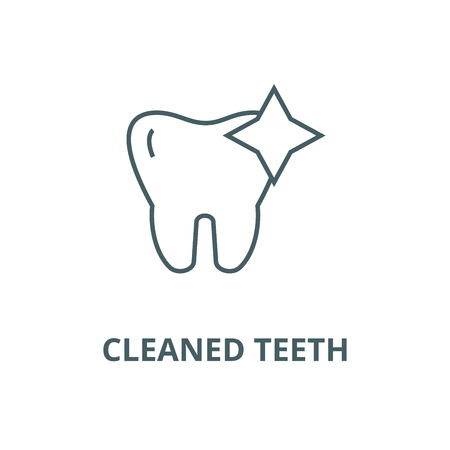 Tooth with shine,cleaned teeth vector line icon, outline concept, linear sign