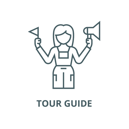 Tour guide vector line icon, outline concept, linear sign