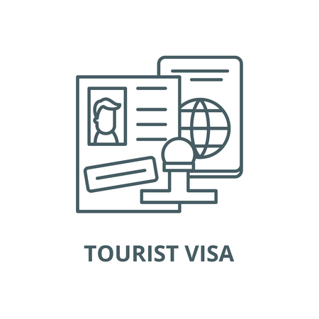 Tourist visa vector line icon, outline concept, linear sign Stok Fotoğraf - 122415301