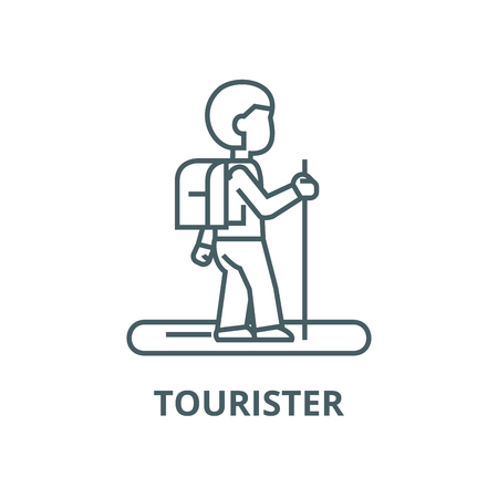 Tourister vector line icon, outline concept, linear sign