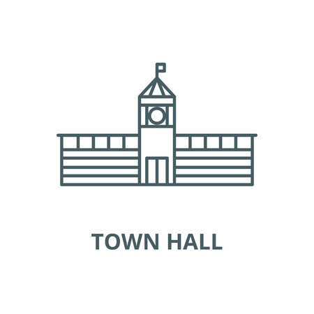 Town hall vector line icon, outline concept, linear sign