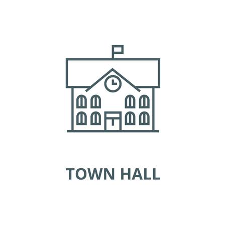 Hôtel de ville,l'icône de la ligne du vecteur de l'hôtel de ville, concept de contour, signe linéaire