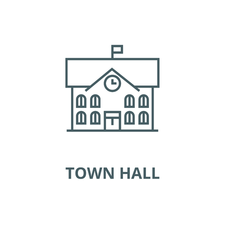Town hall,city hall vector line icon, outline concept, linear sign