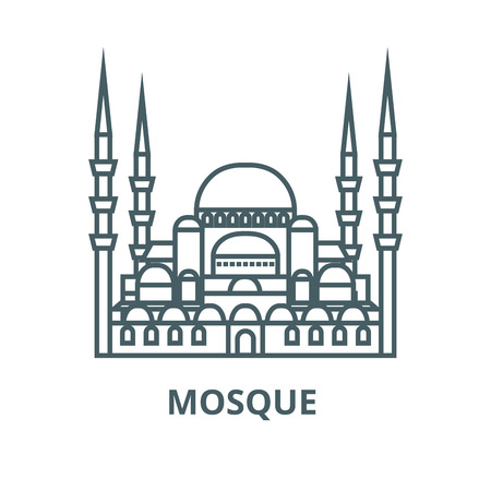 Turkish mosque  vector line icon, outline concept, linear sign 向量圖像
