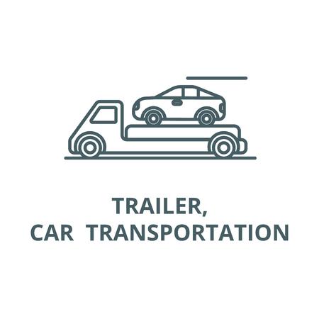 Trailer,transportation,car  vector line icon, outline concept, linear sign Ilustracja