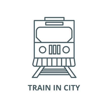 Train in city vector line icon, outline concept, linear sign