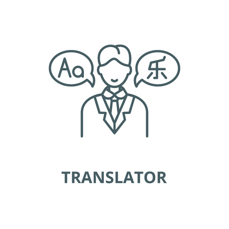 Translator vector line icon, outline concept, linear sign Ilustração