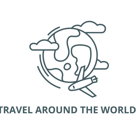 Travel around the world,  vector line icon, outline concept, linear sign