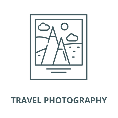 Travel photography vector line icon, outline concept, linear sign
