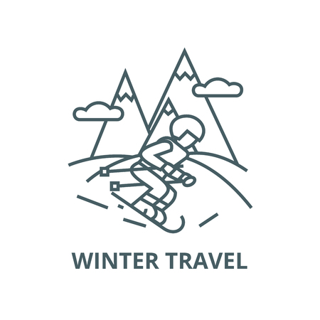 Travel winter,skier skiing in  vector line icon, outline concept, linear sign Illustration