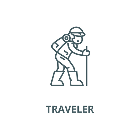 Traveler,hiking man vector line icon, outline concept, linear sign Illustration